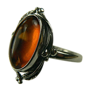 SALE Baltic Amber and Sterling Ring-Size 7 1/2.