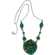 SALE 1940's Jade Glass and Sterling Necklace.