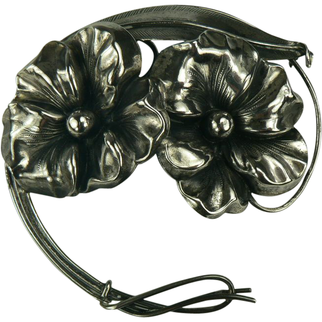 Genuine Art Nouveau Floral Sterling Brooch.