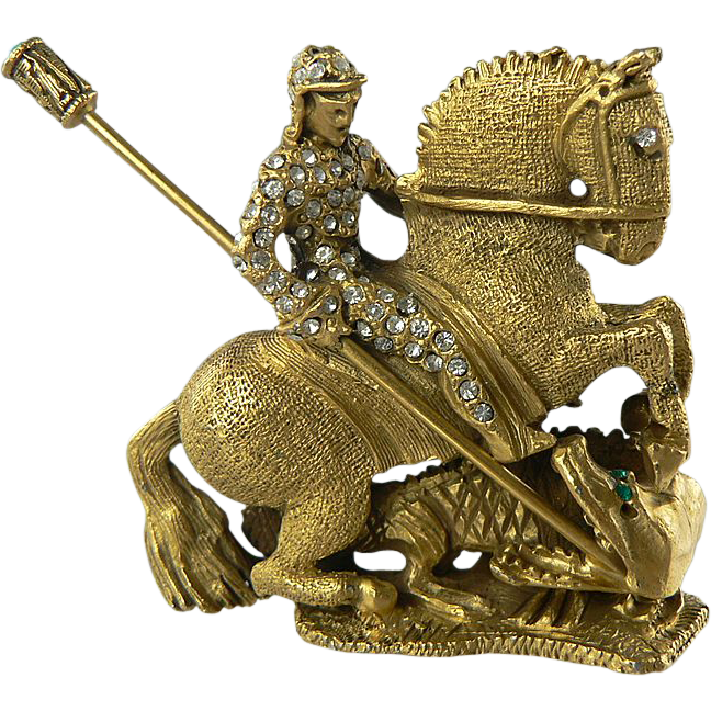 DeNicola's St. George Slaying the Dragon Brooch.  Book Piece.