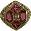 4 Stone Pink Tourmaline & Diamond Ring~14K~Size 8.