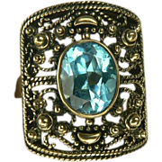 SALE 1950's 10K~Blue Topaz Ring~Size 8.