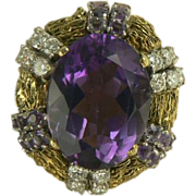 SALE Amethyst & Diamond Cocktail Ring-14k-Size 7 3/4.
