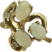 SALE Swirl Opal & Diamond Ring-14k Size 7.