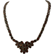 SALE 85 CWT Garnet Necklace Designed in Sterling Silver.
