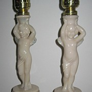 SALE Aladdin Alacite Cupid Lamps PAIR