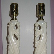 Aladdin Alacite Glass Lamp Pair