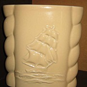 REDUCED Abingdon U.S.A. Ship Vase #494 beige