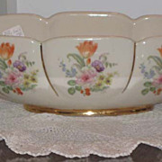 Abingdon Scroll Bowl #532 with pair matching Candle Holders