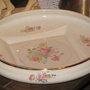 Abingdon Centerpiece Bowl #518 with floral decoration and gold trim