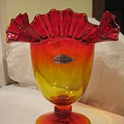 SOLD Blenko Vase #487 Amberina Crimped Top