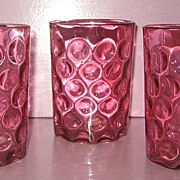 REDUCED Cranberry Polka Dot Water Tumblers set of 3