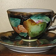 REDUCED Tea Cup, ftd & Saucer  Black and Gold, Pear & Berries Decorated
