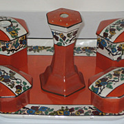 AT AUCTION Dresser Set Crown Pottery John Tams Ltd.Tray, Hatpin, Jars