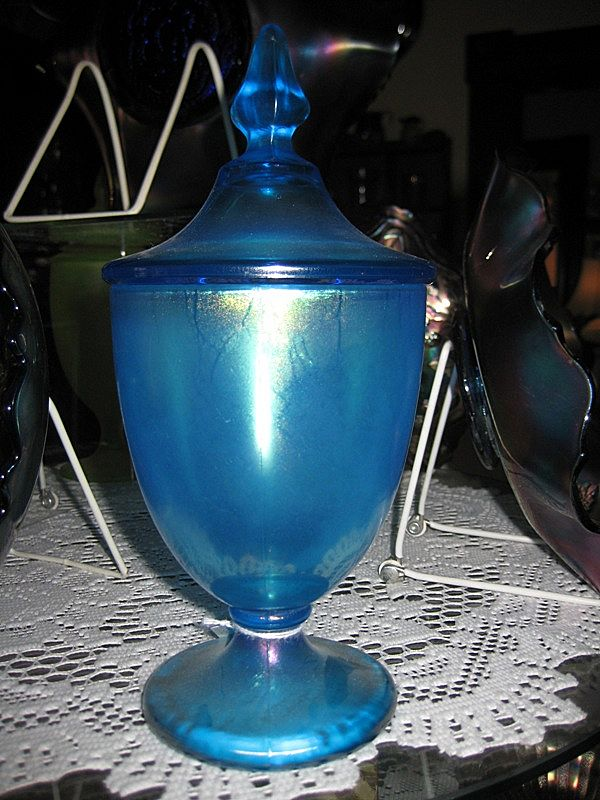 Fenton Blue Stretch Glass Candy Jar