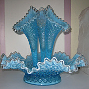 Fenton Blue Opalescent Diamond Lace with Silver Crest Epergne