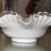 SOLD Fenton Double Crimp Silver Crest 10&quot; Bowl
