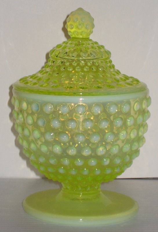 Fenton Hobnail Topaz Opalescent Candy Jar