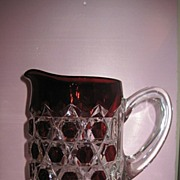 SOLD Red Block Ruby Stained Pitcher Bryce Brothers Glass