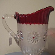 REDUCED Roman Rosette ftd Pitcher late 1800's Ruby Stain