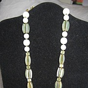 REDUCED Miriam Haskell Necklace pretty glass & metal bead design