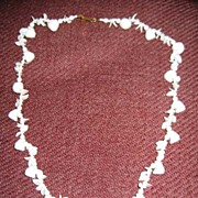 SALE Miriam Haskell White Glass Shell Bead Necklace
