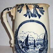REDUCED Marine F.J. Emery Blue and White Pitcher 1878-1894