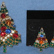 Eisenberg Ice Christmas Tree Pin & Matching Earrings