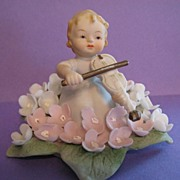 SALE Lefton China Little Girl in Flower Playing Violin