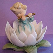SALE Sweet little Lefton Girl in Flower Playing Flute
