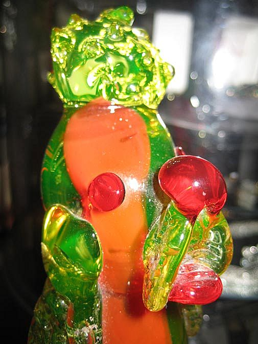 Murano Poodle Red Cased Vaseline Glass