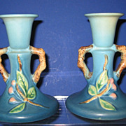 Roseville Apple Blossom Candle Holders 352-4 Blue