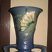 Roseville Freesia Blue Vase 9""