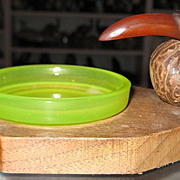 REDUCED Vaseline Glass, Bakelite, Nut, Bird Ashtray