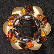 REDUCED Weiss amber rhinestone wreath pin