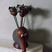 1960's Horderves Elephant with 6 tiny elephant forks