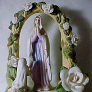 SOLD 1950's Bisque Holy Water Font/Table Top or Wall Mount