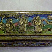 SALE 1930-35 Enameled China Brass Stamp Box