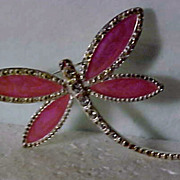 Enameled & Rhinestone Dragonfly Brooch by Avon