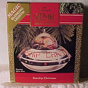 SALE Hallmark 1990 &quot;Starship Christmas&quot; Magic Blinking Lights Ornament