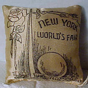 SALE 1939 Miniature World's Fair Pillow with Shipping Tag