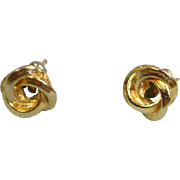Vintage Gold Tone Stud Pierced Earrings - Love Knot Design