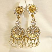 Vintage Rhinestone Crystal Glass Chandelier Earrings  Kenneth Jay Lane Shoulder Duster Earrin