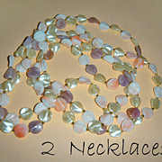 2 Necklaces - 32&quot;  Long Pastel Disk Necklaces