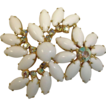Vintage White Milk Glass and Rhinestone Brooch - Vintage Rhinestone Jewelry
