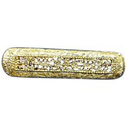 Vintage Gold Plated  Bar Pin - Vintage Brooch Jewelry