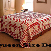 HUGE Antique Turkey Red and White Double Irish Chain QUILT