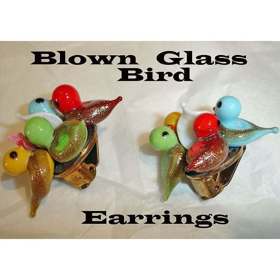 Vintage Blown Glass Bird Earrings