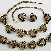 Vintage Florenza Parure - Necklace Bracelet and Earrings Set  � Vintage Florenza Rhinestone Je