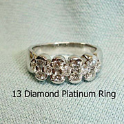 SALE Vintage Estate Platinum Diamond Band Ring - Eternity Diamond Ring -  5-1/2 US